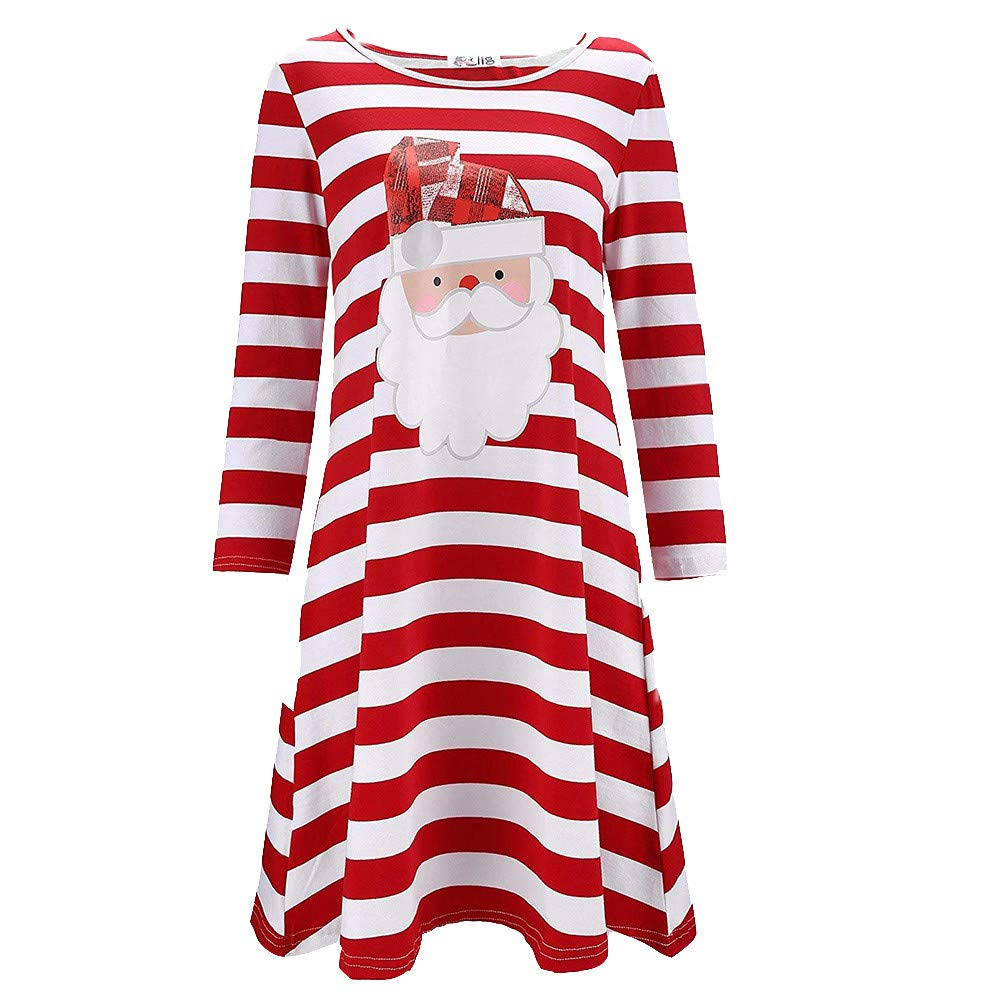 STORTO Women Christmas Plus Size Dress Santa Claus Print Stripe Nightdress Pajamas Red