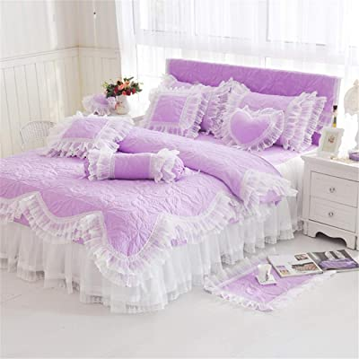 Lotus Karen Purple Girls Quilt Bedding Sets - Romantic Lace Bed Coverlet Set for Girls - Cute Ruffles Girls Quilting Bedspread(1Duvet Cover/1Bed Skirt/2Pillowcases) - Microfiber Polyester Twin Size: Home & Kitchen