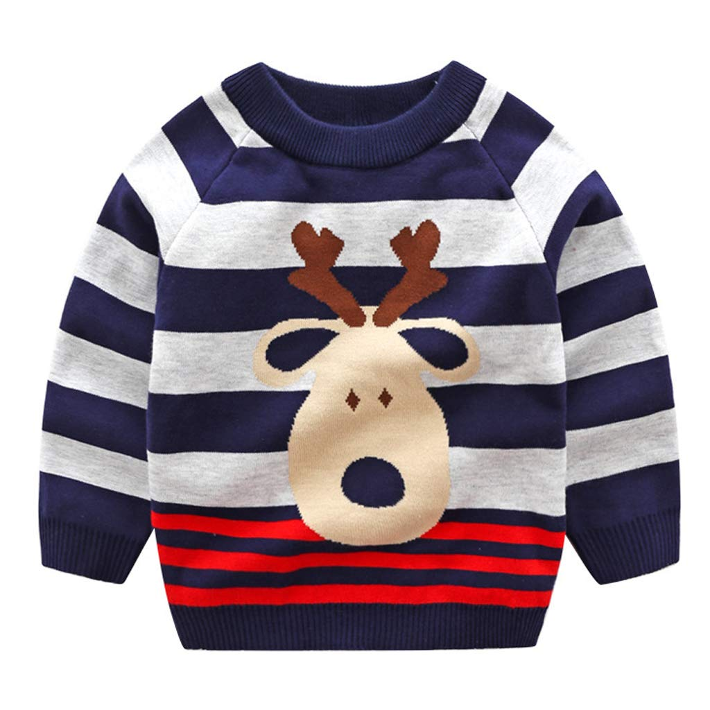 JiAmy Kids Baby Christmas Sweater Knitted Pullover Winter Sweatshirt Deer Cotton Tops for 1-6 Years