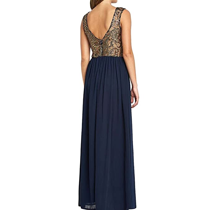 Amazon.com: Sue&Joe Womens Open Back Dress Sleeveless Metallic Lace Crochet Pleated Dresses: Clothing