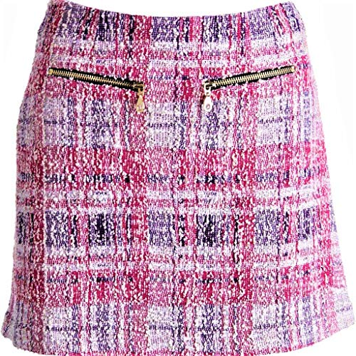 FOREVER JUICY COUTURE $198 Retail Price Womens Pink Black White Plaid Boucle Skirt SZ L New with Tags
