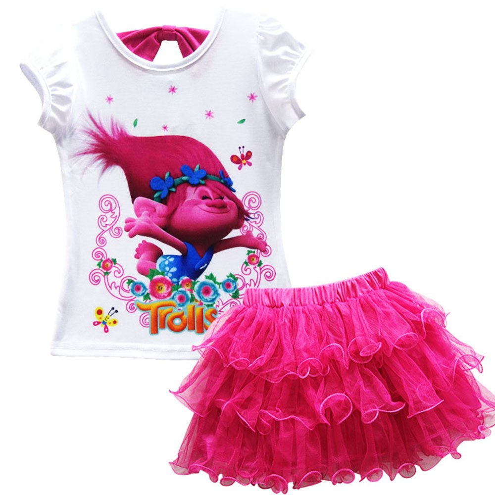 AOVCLKID Trolls Little Girls' 2Pcs Suit Cartoon Shirt and Skirt Set (Rose 2,120/4-5Y)
