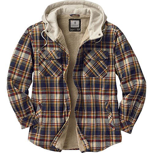 Legendary Whitetails Men's Camp Night Berber Lined Hooded Flannel Forest Ridge Plaid XXX-Large