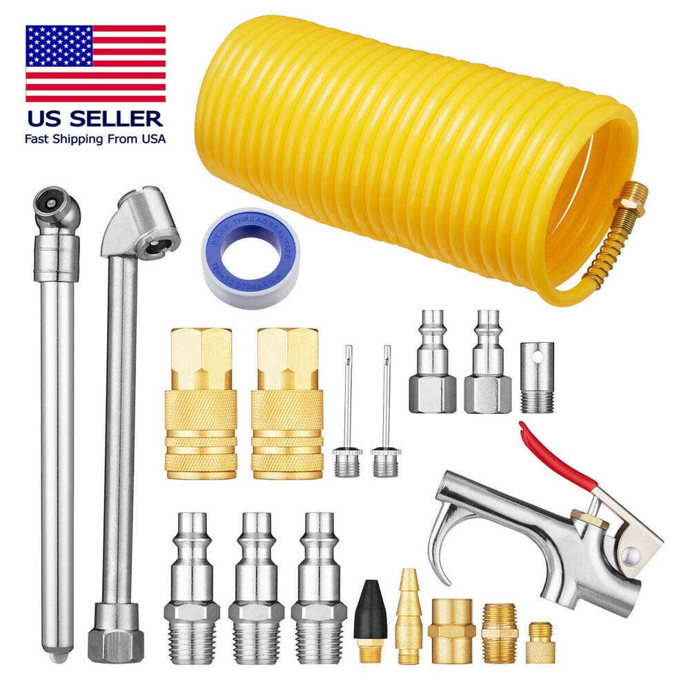 20Pcs Air Compressor Accessory Kit 1/4'' NPT Air Tool Kit w/ 1/4''x25Ft Nylon Hose O07155