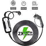 Morec Portable EV cargador de cable conmutable caja de carga 10 / 16A tipo 1 Schuko 2 pin ev estación de carga Coche eléctrico EVSE (enchufe europeo) 2.2 / 3.6kw, 5m / 16ft