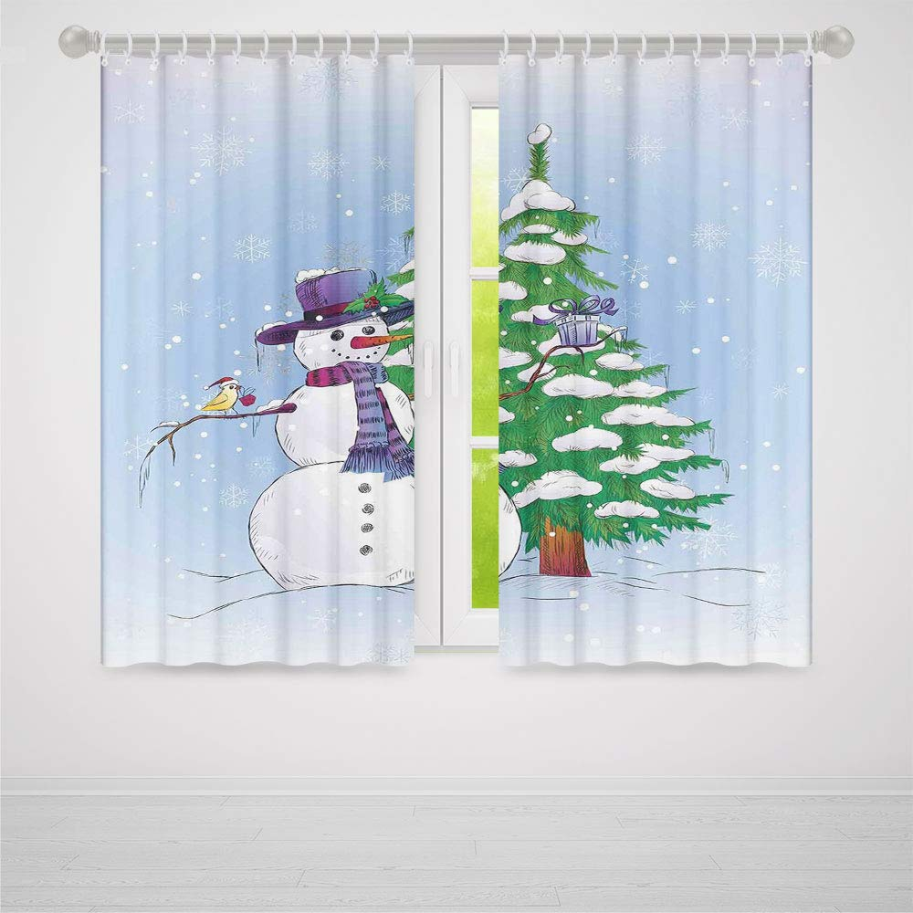 TecBillion Decor Collection,Christmas Decorations,for Bedroom Living Dining Room Kids Youth Room,Snowman in Winter with Mistletoe Gift Top Hat and Scarf Tree and Bird,86Wx70L Inches