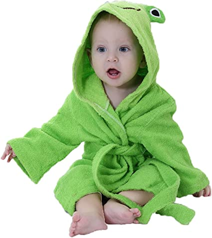 Grenouille Minuya B/éb/é Capuche Mignon Animal Peignoir Nightgown Cartoon Pyjamas Filles Gar/çons Homewear enfants Bain Doux Robe 0-2 ans