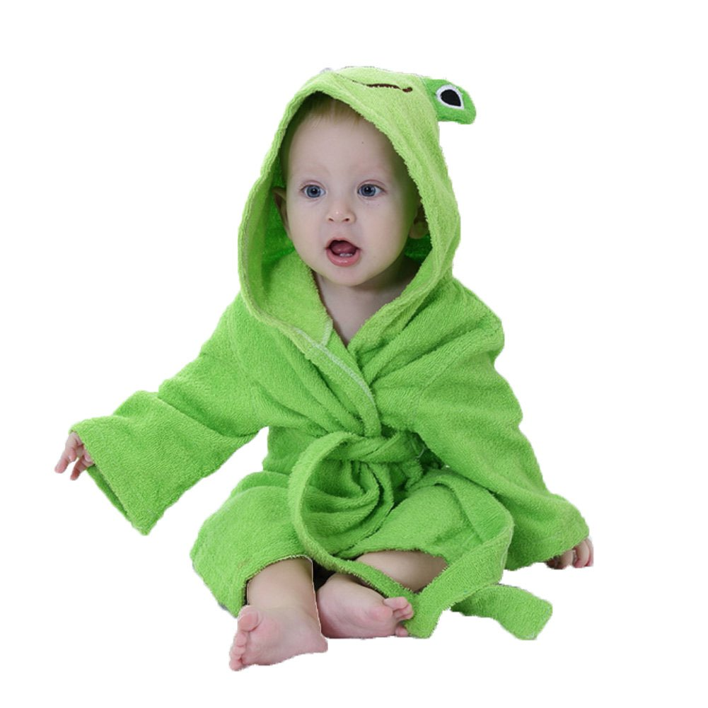 Minuya Albornoces Bebe, Bata de Baño Bebe Forma Animal Linda/Albornoz Suave de Algodón/Ropa de casa/Albornoces con Capucha para Niñas y Niños 0-2 Años