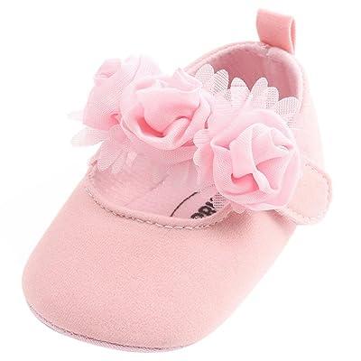 Newborn Kids Baby Girl Chiffon Flower Elastic Antiskid Newborn Walking Shoes