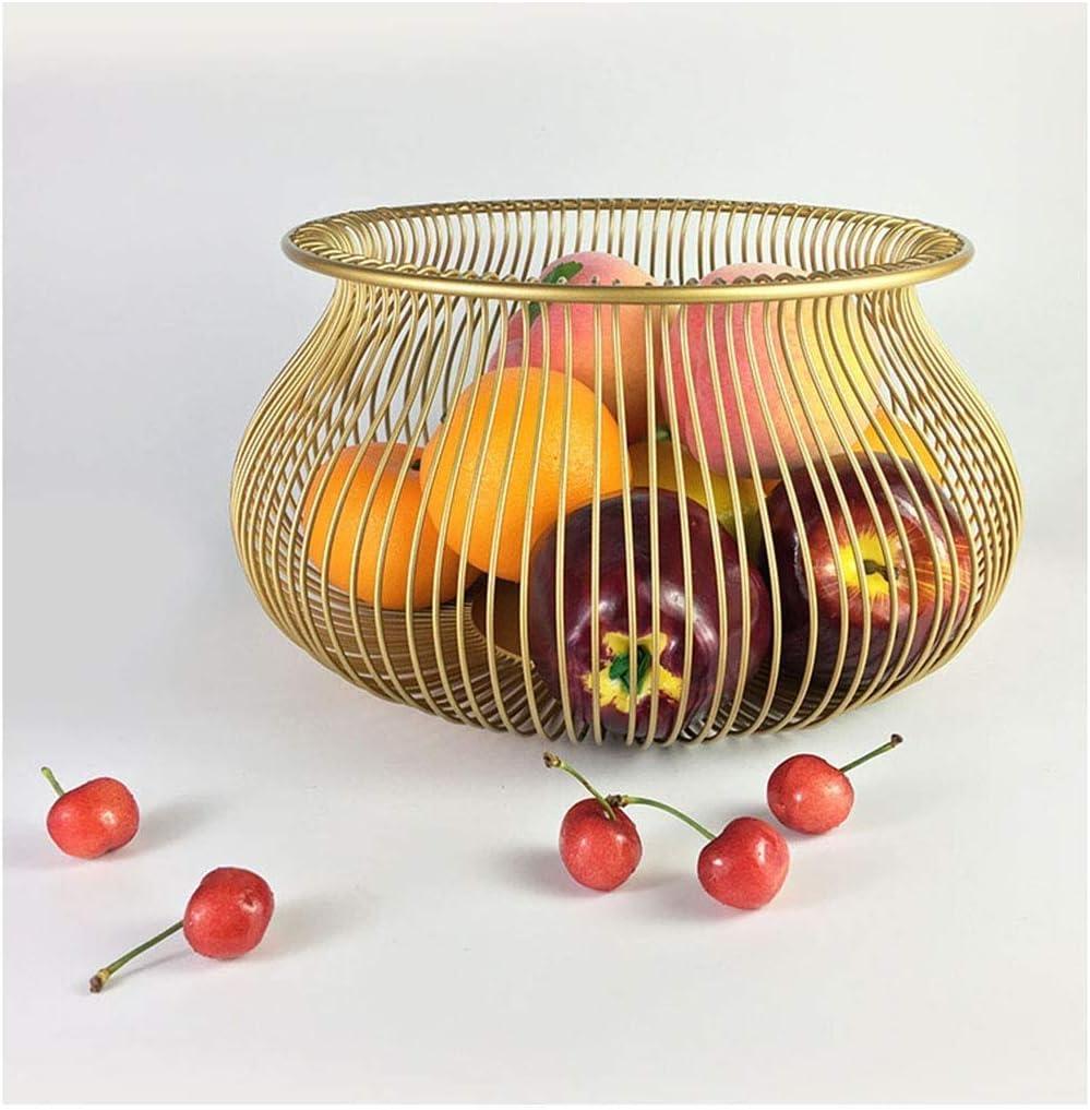 MLOZS Cesta de frutas de hierro forjado, multifunción, cesta de almacenamiento de frutas huecas, para sala de estar, hogar, frutas, verduras, dulces, galletas, cuencos de frutas (color: dorado)