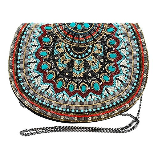 MARY FRANCES Girl Tribe Beaded Western Pattern Crossbody Saddle Handbag