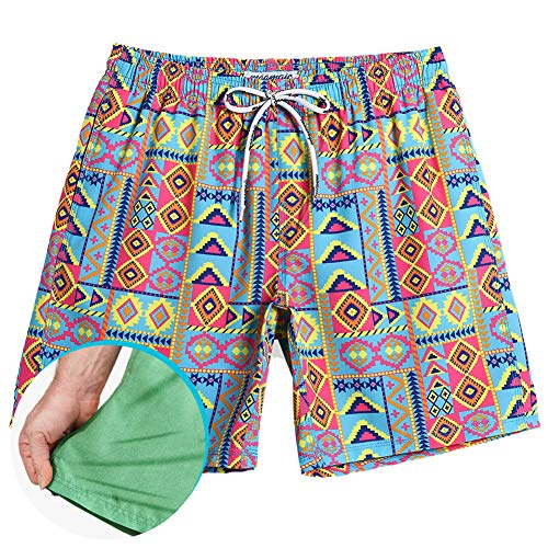 Lined Swim Hawaiian Trunks (MaaMgic Mens Short 80s Original Swim Trunks Mesh Lined 4 Way Stretch Quick Dry Vintage Swim Trunks Bathing Suits 854222)