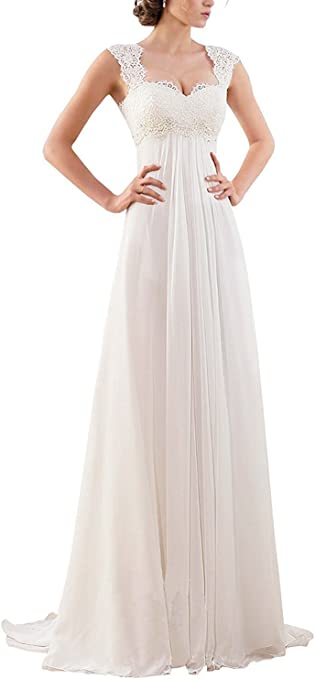 Sleeveless Lace Chiffon Evening Bridal Dresses