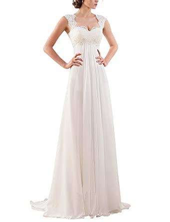 Amazon.com: Women\'s Sleeveless Lace Chiffon Evening Wedding Dresses ...