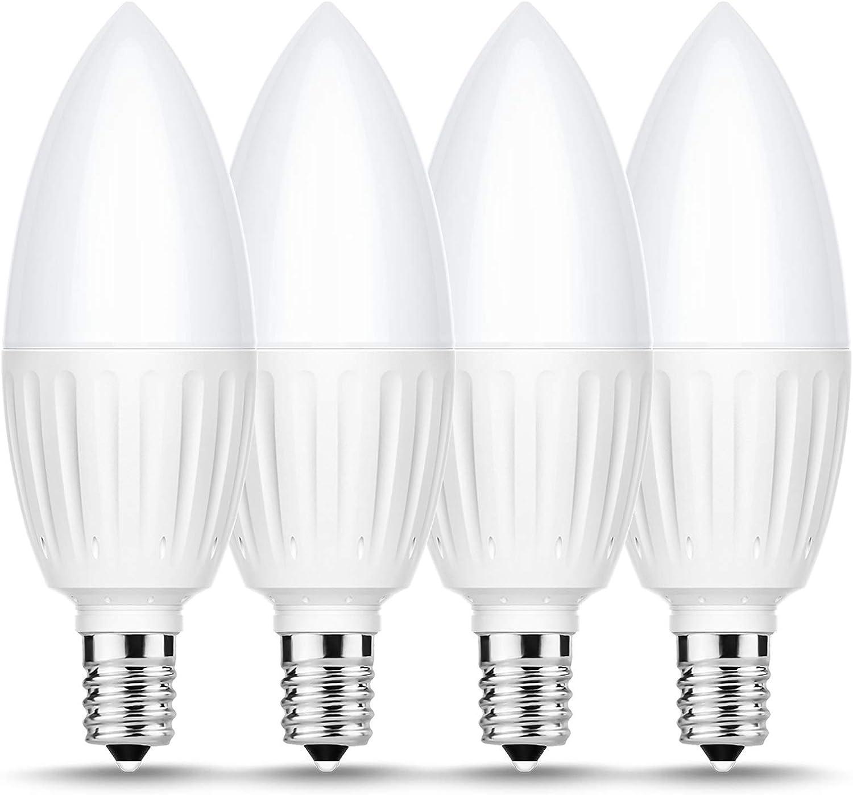 Briignite E12 Candelabra LED Light Bulbs, 80W Incandescent Bulb Equivalent, 880LM, Daylight 5000K LED Chandelier Bulb, 9W Ceiling Fan Bulb Candelabra Base, Non-Dimmable, Indoor Home Lighting, 4 Pack