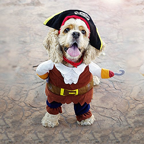 Vevins Dog Caribbean Pirate Style Costume Halloween Apperal Christmas Clothes for Small Dog Cat Size M ()