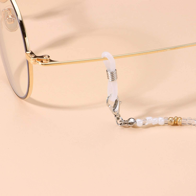 ZWGYS 4 Pcs Mask Necklace Holder Eyeglass Chains for Women Eyeglass Holder Strap Beaded Lanyard Eyeglass Lanyard with Clips Eyeglass Holders Around Neck for Women Stylish Mask Lanyard for Kids Women