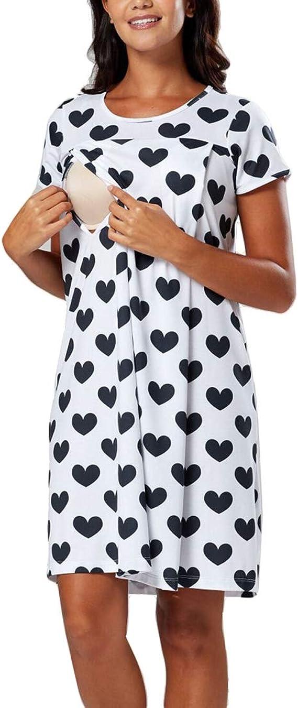 Verano Camisa de Algodón de Lactancia Materna para Mujeres Embarazadas Vestido Estampado de Pijama hasta la Rodilla: Amazon.es: Ropa y accesorios