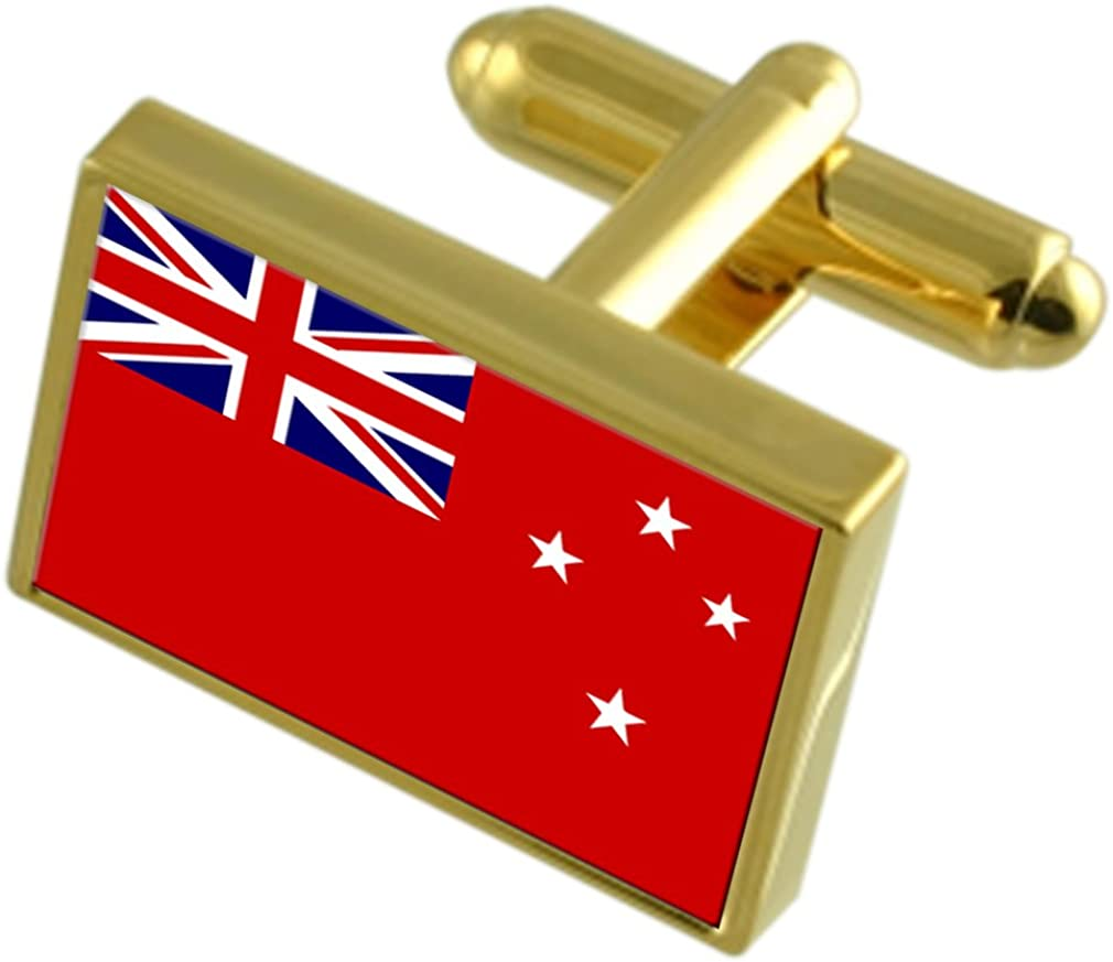 Navy Ensign Militairy New Zealand Gold-tone Flag Cufflinks