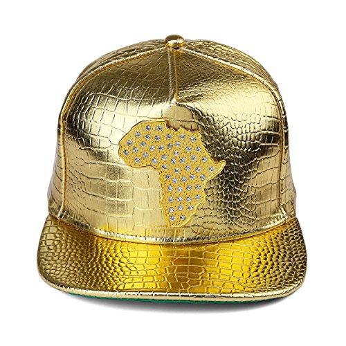 MCSAYS la Gorra relieve de de de patrón cuero de serpiente cocodrilo África en béisbol Snapback de plano sombrero Hombre de PU piel Mapa del del del de del ala Oro la 5S51qr