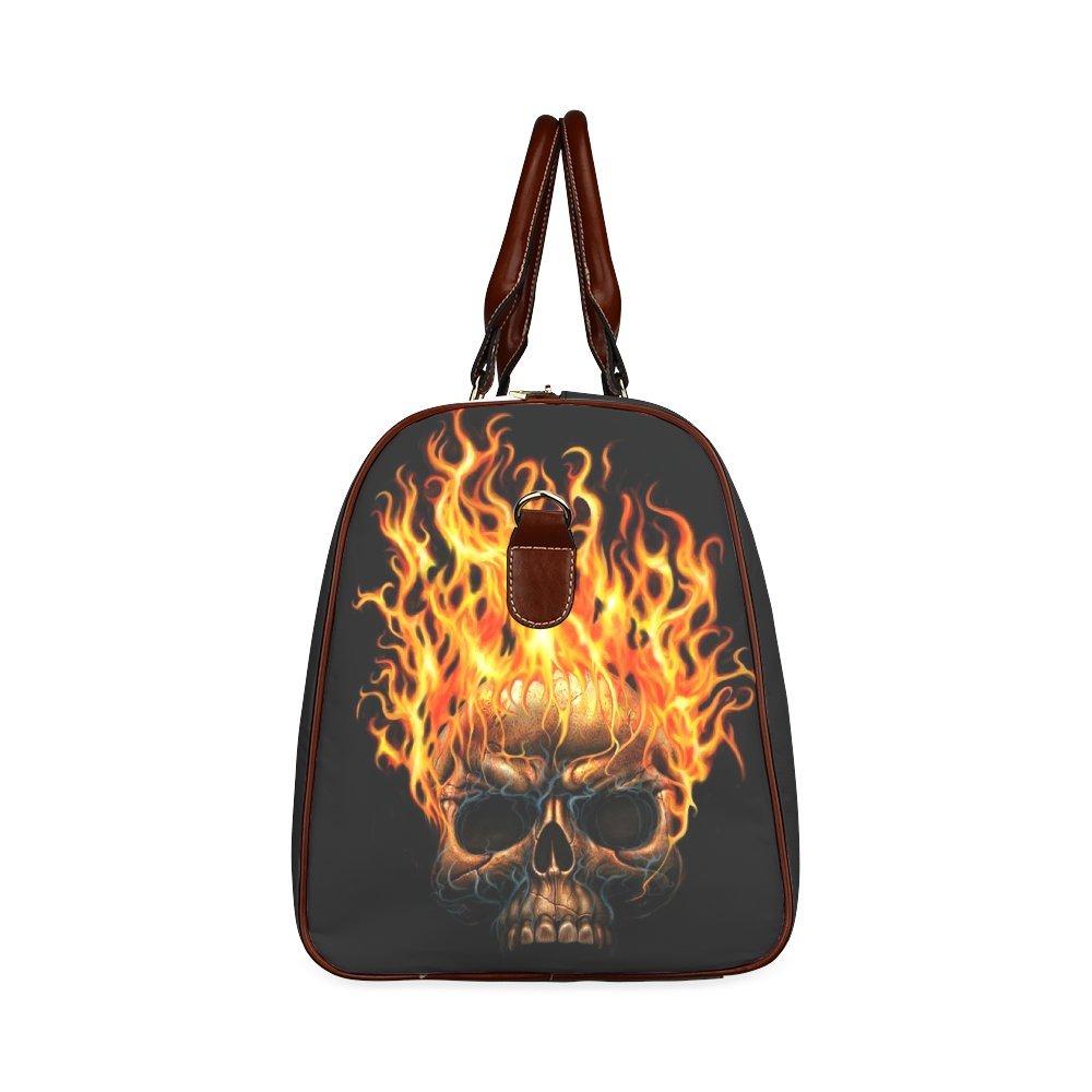 Custom Fire Skull Waterproof Travel Tote Bag Duffel Bag Crossbody Luggage handbag
