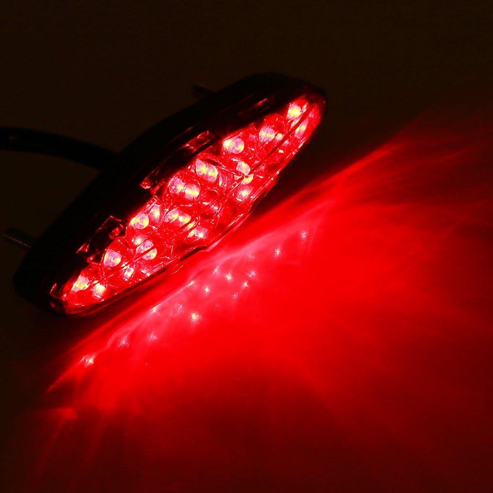 12V 15 LED feu arri/ère de frein de moto rouge arr/êt de frein de moto en cours dex/écution arri/ère lampe feu arri/ère universel pour motos ATV Dirt Bike Scooter