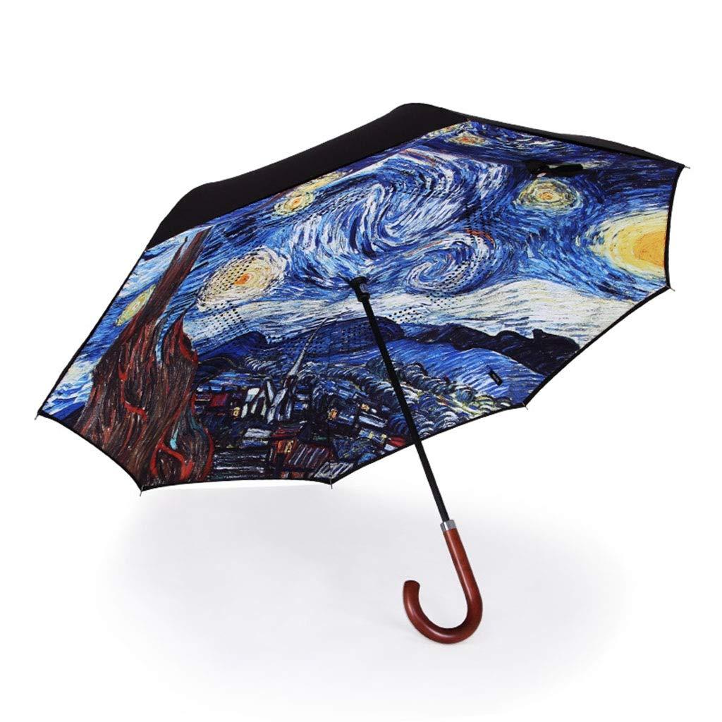 台風雨と雨の二重用途大型傘に対して逆傘二層織物車の傘 (色 : A) B07Q2CC2G9 A