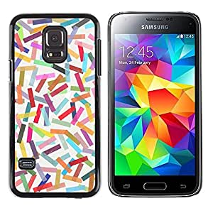 iKiki Tech / Estuche rígido - Abstract Colorful Pastel Lines Pattern - Samsung Galaxy S5 Mini, SM-G800, NOT S5 REGULAR!