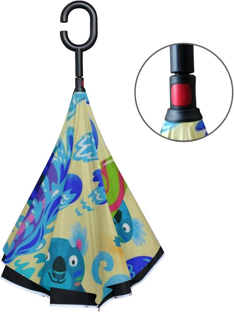 Double Layer Inverted Inverted Umbrella Is Light And Sturdy Cute Koala Surfers Seamless Pattern Hand Reverse Umbrella And Windproof Umbrella Edge Nig