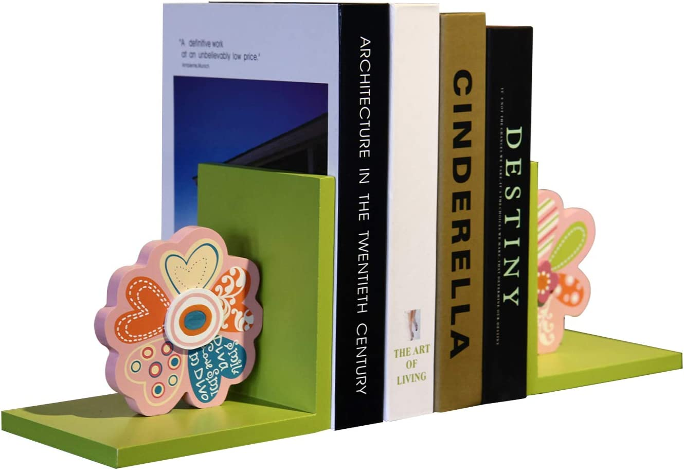 Adeco Cute Colorful Flowers Childs Wooden Bookend Set of 2