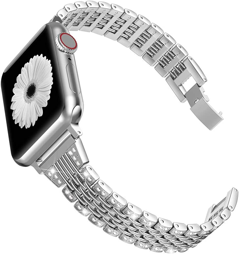 Wearlizer Bling Band Compatible with Apple Watch Band 38mm 40mm 42mm 44mm for women,Metal Shiny Jewelry Strap Wristband Replacement for iWatch Series 6/5/4/3/2/1 Sport Edition