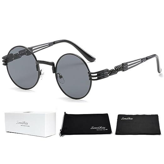965cf686f0 SamuRita Designer Steampunk John Lennon Metal Round Sunglasses Vintage  Eyewear(Black Lens Black Frame