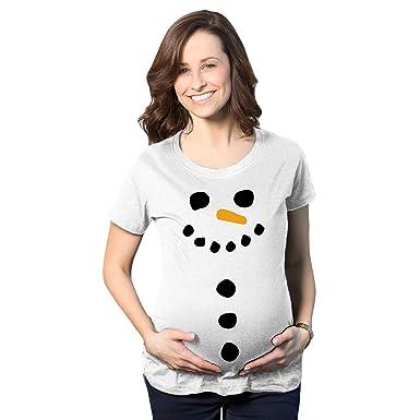 ebe2b277da88f Maternity Snowman Buttons Funny Pregnancy Bump Tee Cute Winter T Shirt  (White) - S