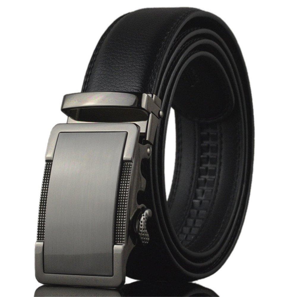 KHC Men's Belt 100% High Quality Leather Belt Ratchet Automatic Adjustable Buckle Black 4XL apparel-belts