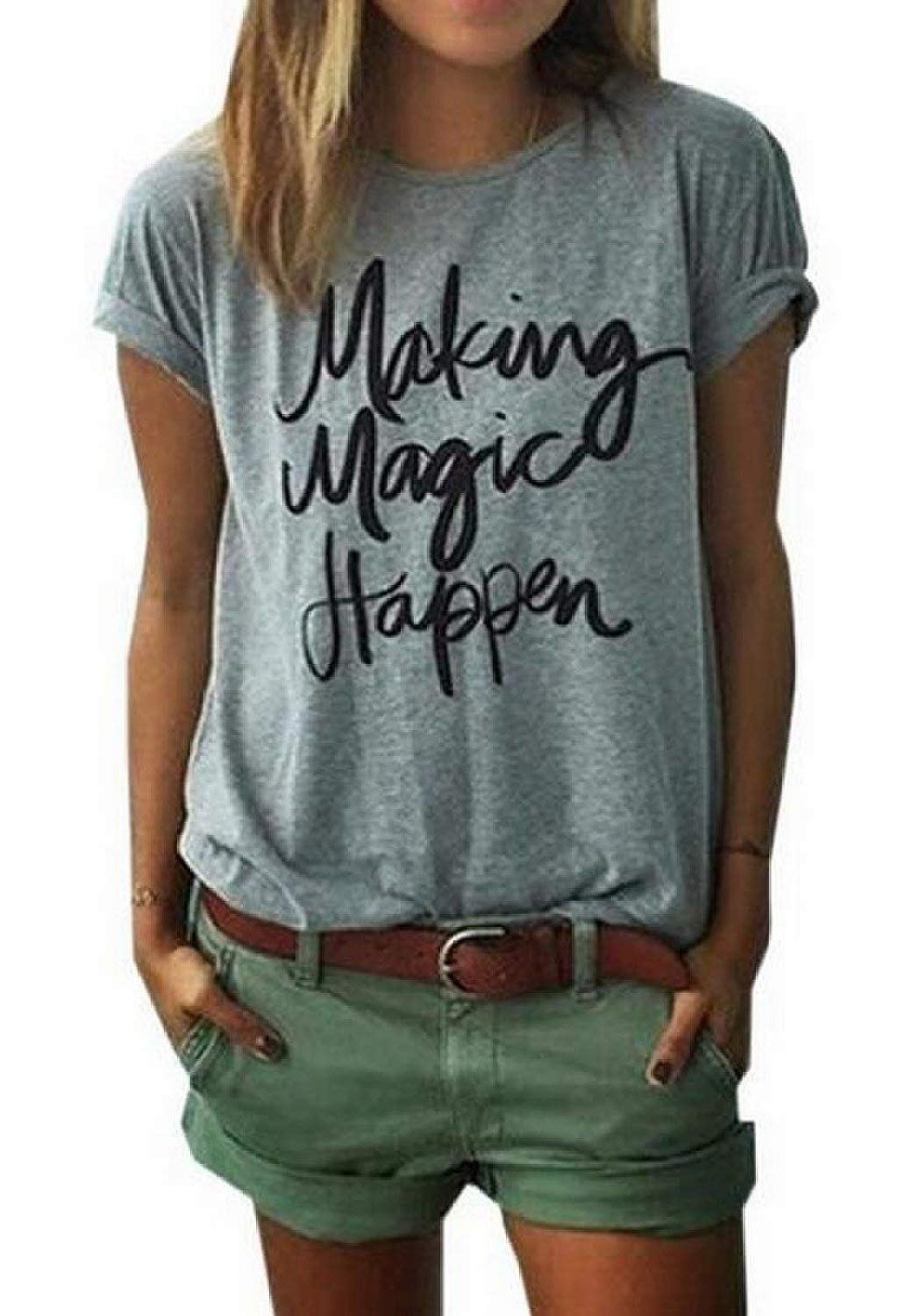 ZAWAPEMIA Making Magic Happen Shirts for Womens Casual Short Sleeve Tops Soft T-Shirts with Sayings