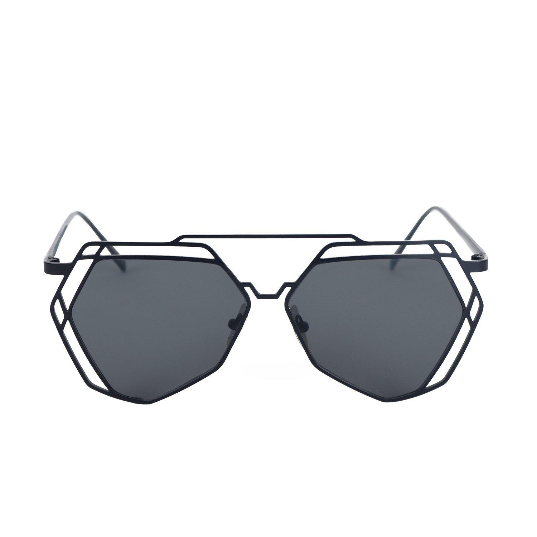 HoShip Mirrored Flat Lenses Street Fashion Metal Frame Women Sunglasses