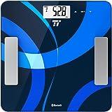 Bilancia Pesapersone Digitale TaoTronics Misurazione di Peso, BMI, Grasso Corporeo, Acqua, Massa Muscolare, Massa Ossea, BMR & AMR. Bilancia Avanzata per il Bagno con 4 Sensori di Precisione (12 Profili di Memoria, App Intuitiva, Certificazione FDA)
