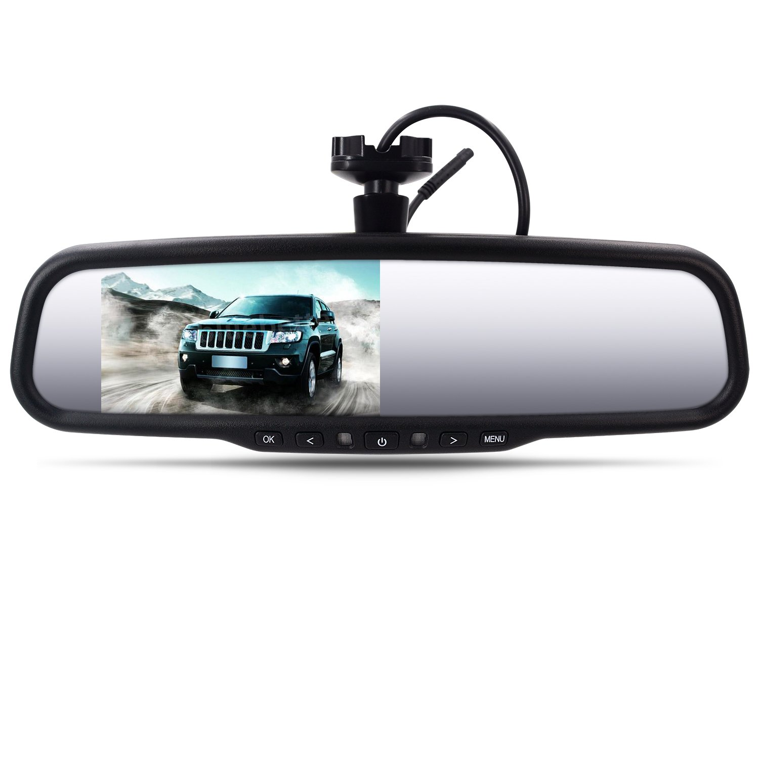 ARECORD AR-430 4.3 inch Car Rear View Mirror Monitor Auto Adjusting Brightness Support Auto Parking Assistance System