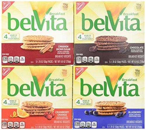 BelVita Breakfast Biscuits Variety Pack - Blueberry, Chocolate, Cinnamon Brown Sugar & Cranberry Orange (1) 8.8 oz. Box of Each Flavor (Bundle of 4)