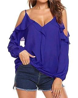 Auxo Damen Schulterfreie Shirts V-Ausschnitt T-Shirt Langarm Oberteil Party  Strand Tops 3a56a65a55