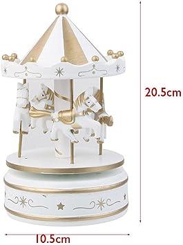 Docooler Mini carrusel Mecanismo Caja de M/úsica LED Colorido Merry-go-Round Caja Musical Regalo para Novia Ni/ños Ni/ños Fiesta de Navidad