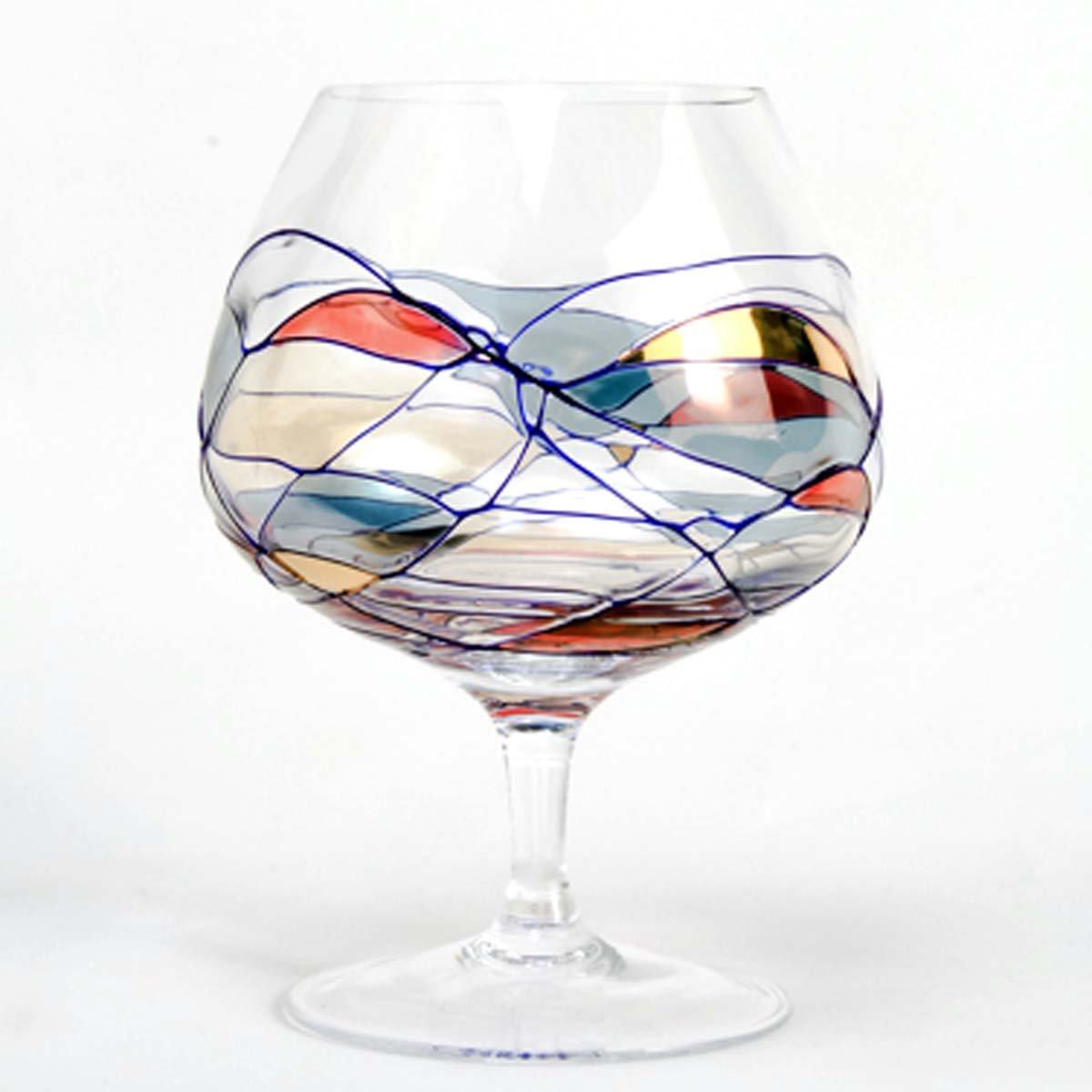 Set Of Four (4) - Romanian Crystal Barware - Cobalt Blue Swirl/Stained Glass Pattern - Milano Design - 15 Oz Brandy Glassware