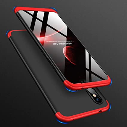new concept cf875 adcc0 ECOSMOS ®Redmi Note 6 Pro Back Case Cover: Full Body 3-in-1 Slim Fit  Complete 3D 360 Degree Protection Hybrid Hard Bumper (Red & Black)