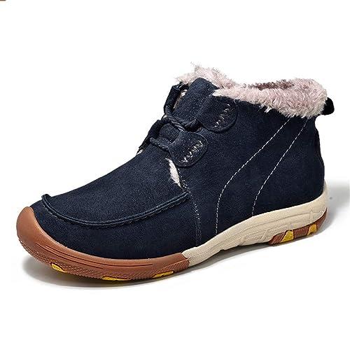 Vaca De Invierno CáLida Nieve Botas para Hombres Zapatillas Hombre Mocasines De Gamuza Cuero Zapatos Casual Adulto Tobillo Plana: Amazon.es: Zapatos y ...
