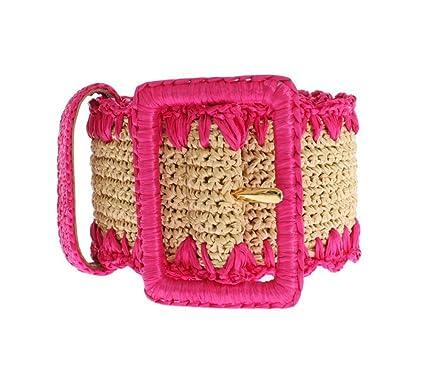 Dolce   Gabbana - Rose raphia tissé Large ceinture  Amazon.fr ... f2b96b5bb2a