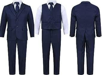 Traje azul marino de cinco piezas para fiesta de boda, fiesta de graduación, para niños de 1 a 15 años