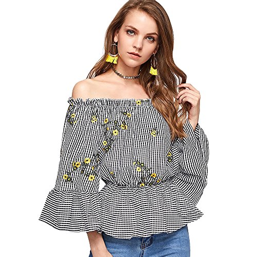 Langstar Embroidered Checked Off The Shoulder Blouse (Surplice Embroidered)