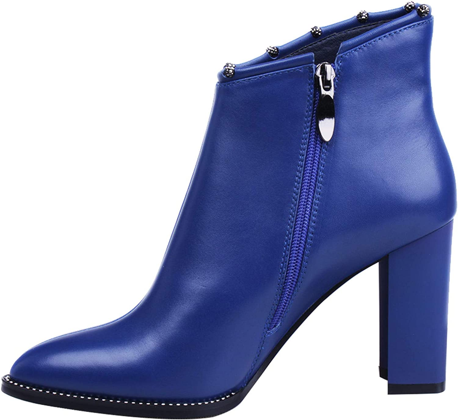 MARHEE 9.1cm Genuine Leather Pumps Winter Kid Suede Boot Woman Side Zip Boots Square Heels Crystal Shoes