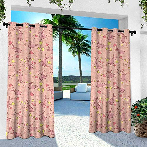 Animal, for Patio Light Block Heat Out Water Proof Drape,Bunnies with Flowers Pastel Spring Flora and Fauna Illustration, W84 x L84 Inch, Pale Pink Dark Coral Yellow