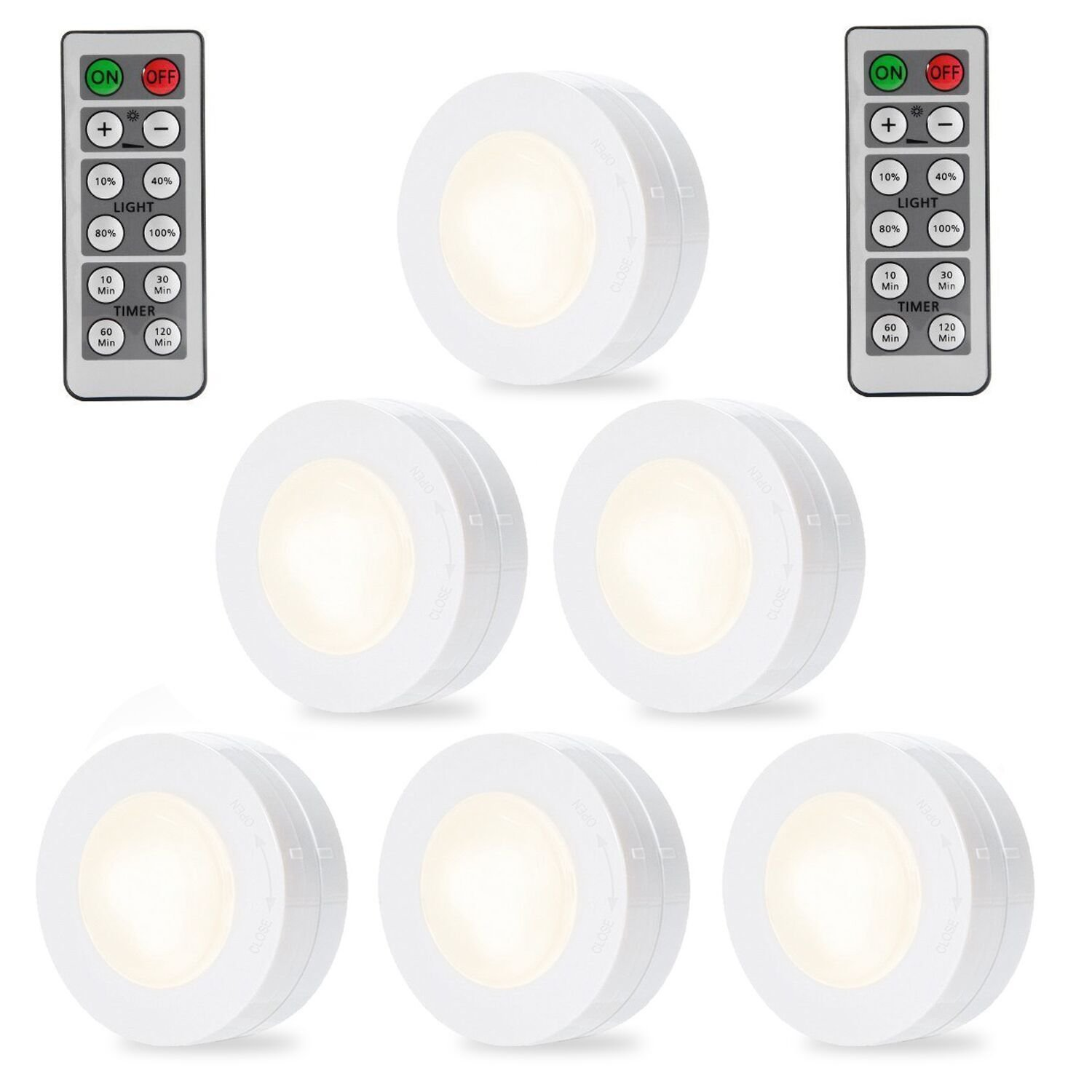 SOLLED Wireless LED Puck Lights, Kitchen Under Cabinet Lighting with Remote Control, Battery Powered Dimmable Closet Lights, 4000K Natural Light-6 Pack